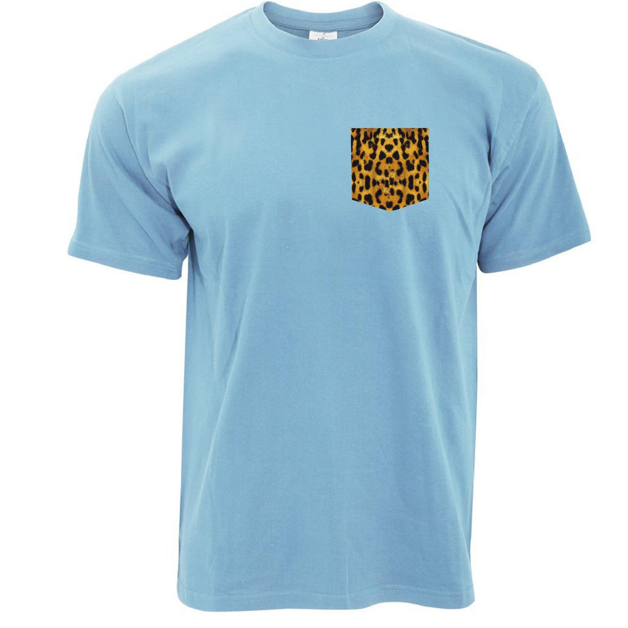 Mens Cool Hipster T Shirt Leopard Print Fake Pocket Printed Swag Fun Tshirt